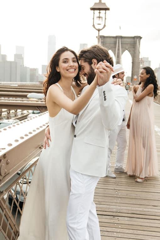 Wedding couple learning to dance